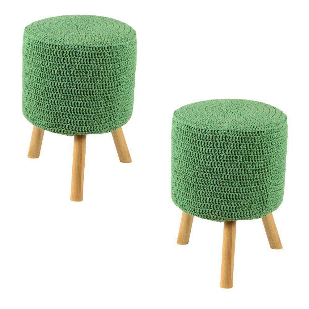 Kit 2 Puffs Banquetas Round Crochê verde - Stay Puff