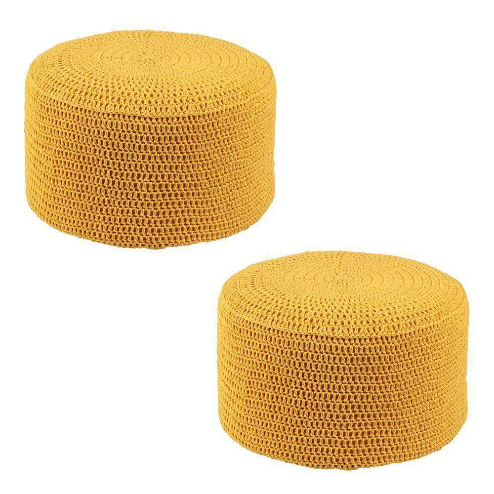 Kit 2 Puffs Pastilha Crochê Amarelo - Stay Puff