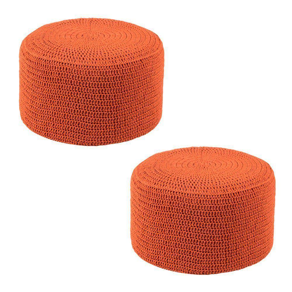 Kit 2 Puffs Pastilha Crochê Laranja - Stay Puff