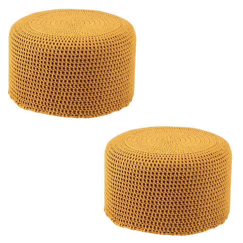 Kit 2 Puffs Pastilha Crochê Mostarda - Stay Puff