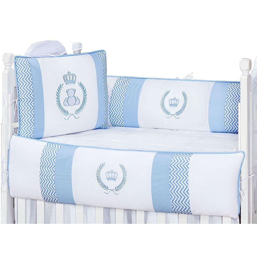 Kit Berço Coroa Padrão Americano 09 Peças Azul Bebê - Giz de Cor