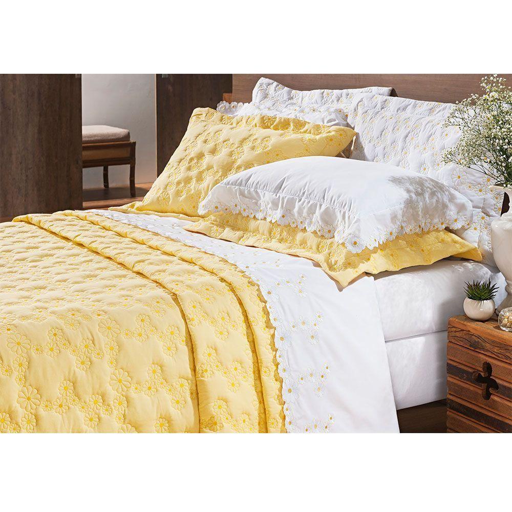 Kit Cobre Leito Casal Super King 03 Peças Bordado Percal 200 Fios Nuance Amarelo - Bernadete Casa