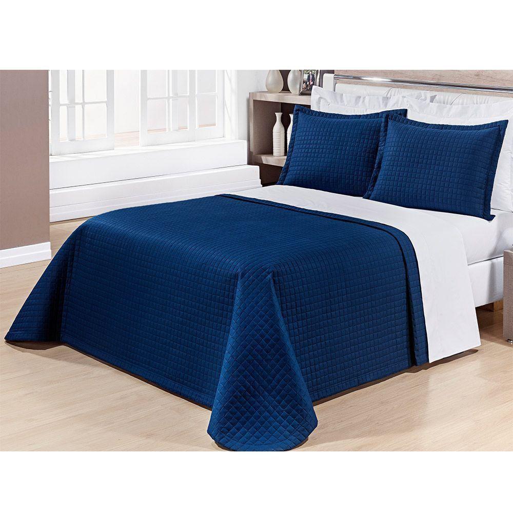 Kit Cobre Leito Casal Super King 03 Peças Percal 200 Fios Prátic Azul Marinho - Bernadete Casa