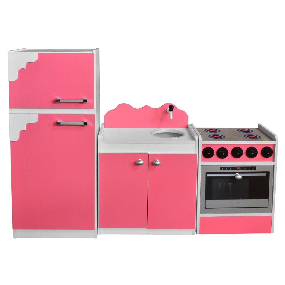 Kit Cozinha de Brinquedo Infantil 03 Peças Rosa/Branco - Criança Feliz