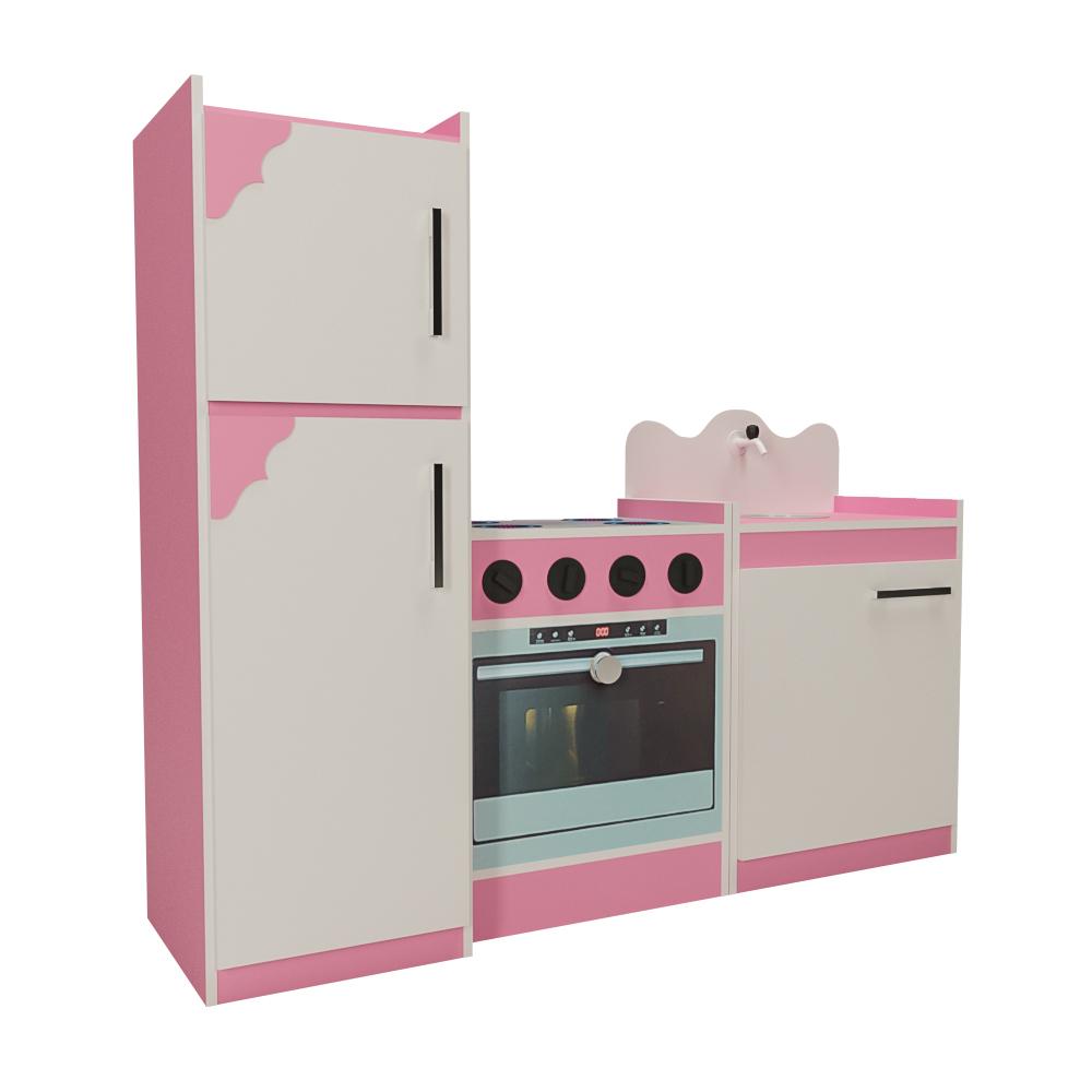 Kit Cozinha Infantil de Brinquedo 03 Peças Rosa/Branco - Criança Feliz