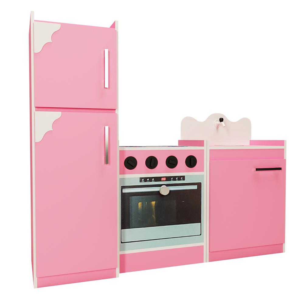 Kit Cozinha Infantil de Brinquedo 03 Peças Rosa - Criança Feliz