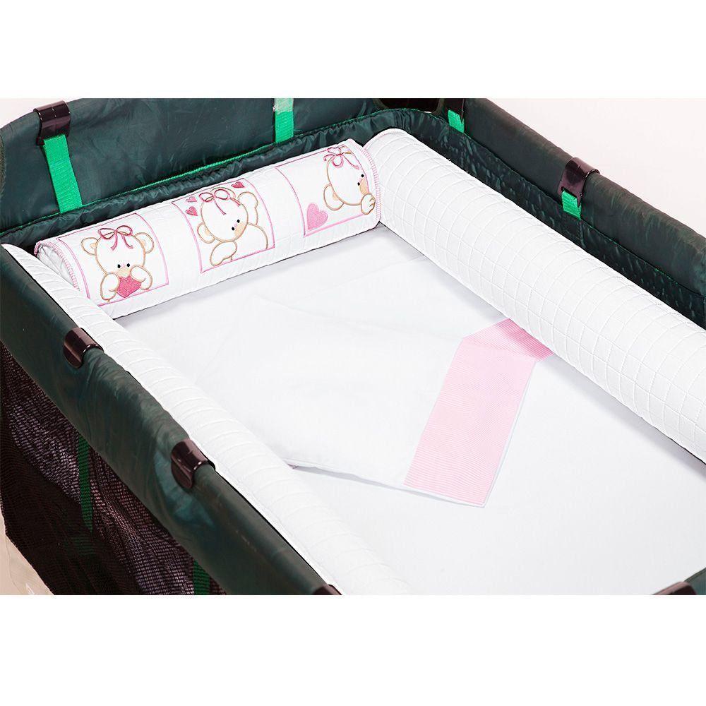 Kit de Berço Desmontável 07 Peças Rosa/Branco - Giz de Cor
