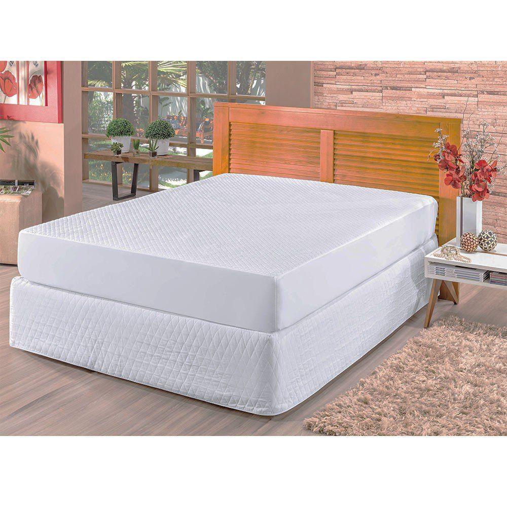 Kit Protetor de Colchão e Travesseiros Casal Padrão Impermeável Branco - Bia Enxovais
