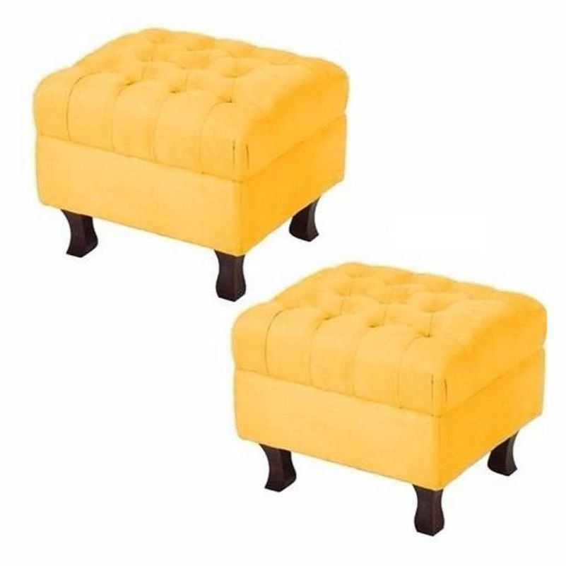 Kit Puff Banqueta Retrô Luis XV Capitonê Amarelo