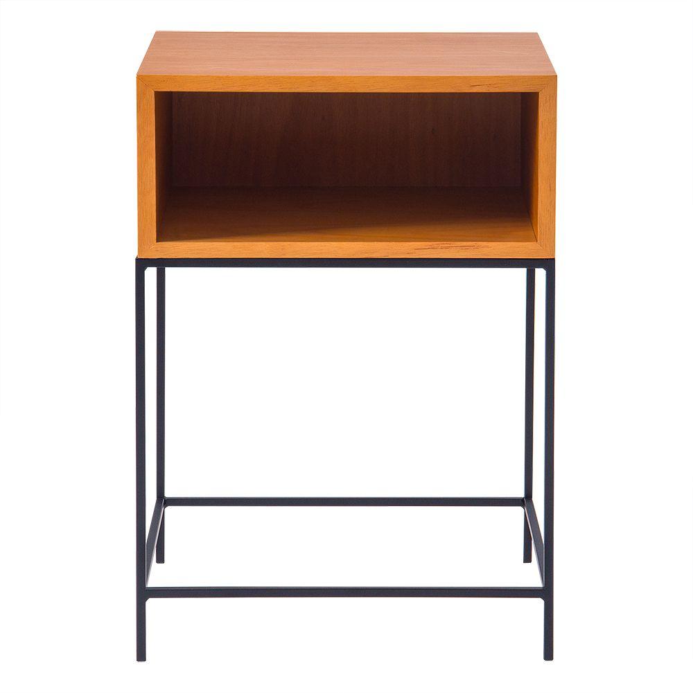 Mesa de Apoio Mistu 45 cm Aço Preto / Marfim – Gran Belo