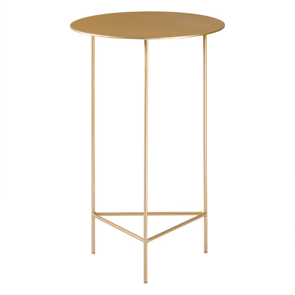 Mesa de Apoio Plate 40cm Alta Aço Dourado – Gran Belo