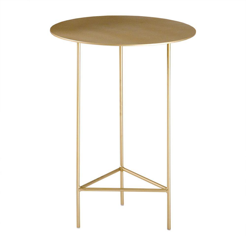 Mesa de Apoio Plate 40cm Baixa Aço Dourado – Gran Belo