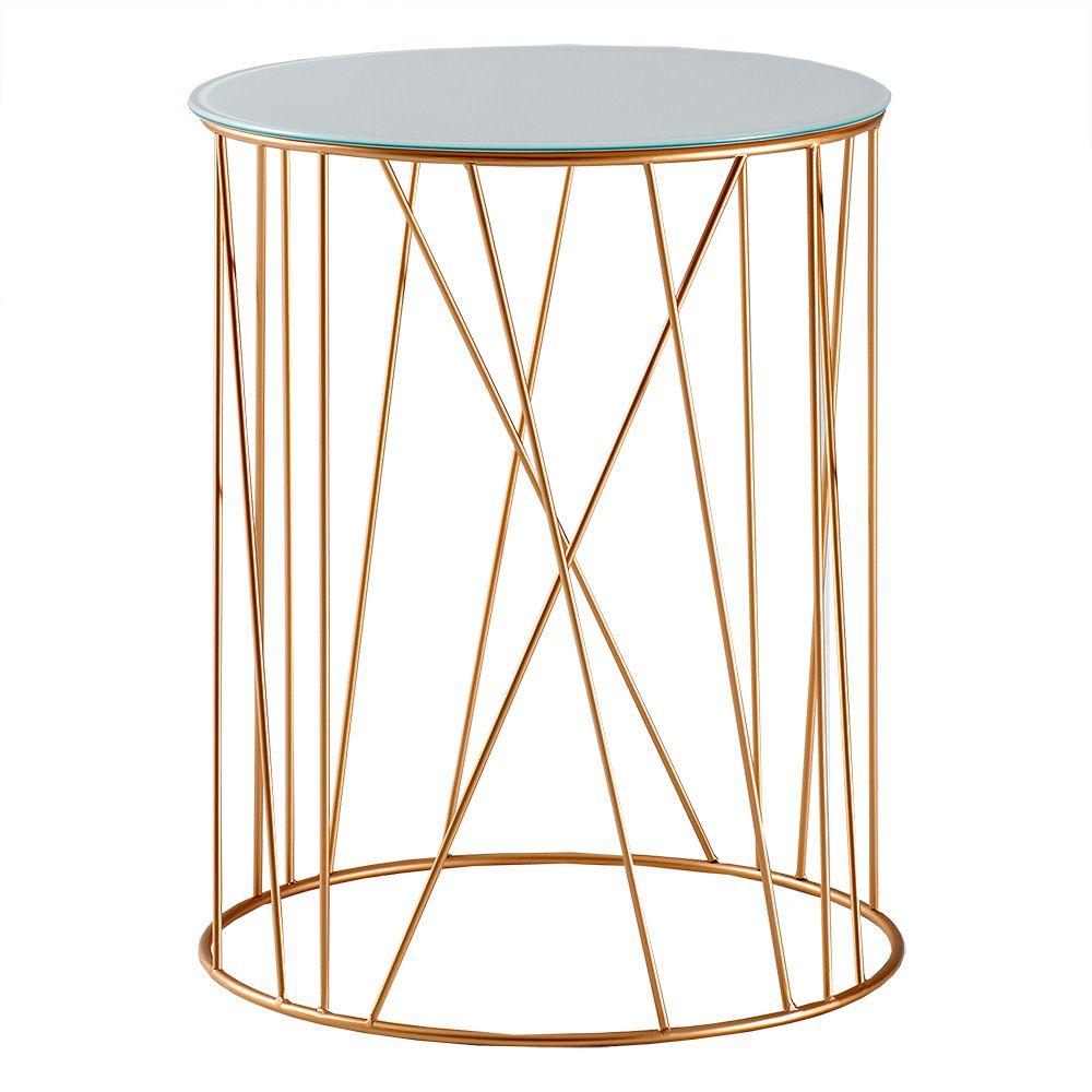 Mesa de Apoio Trama 45 cm Alta Aço Dourado / Vidro Branco – Gran Belo