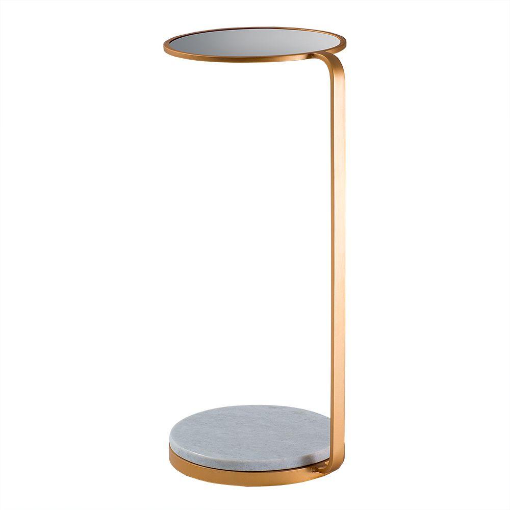 Mesa de Aproximação Drink 30cm Aço Dourado/Mármore Branco/Espelho – Gran Belo
