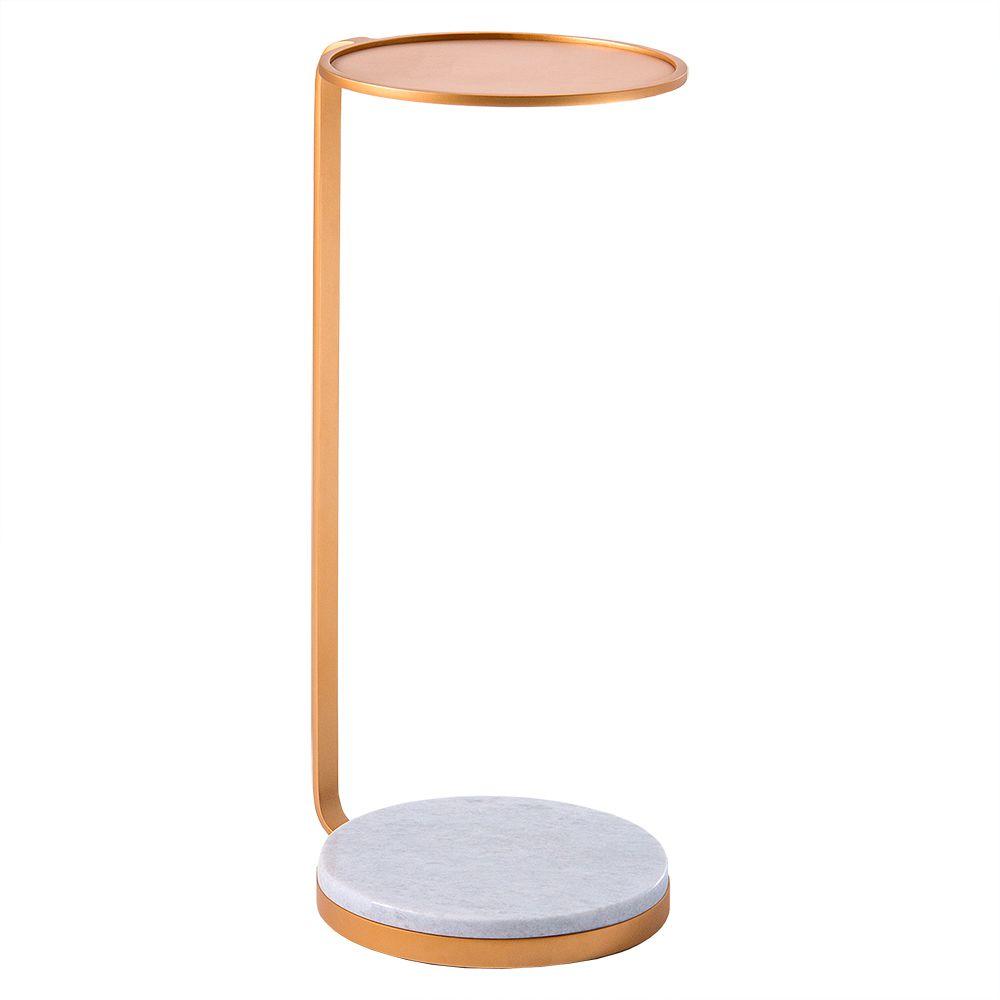 Mesa de Aproximação Drink 30cm Aço Dourado/Mármore Branco – Gran Belo