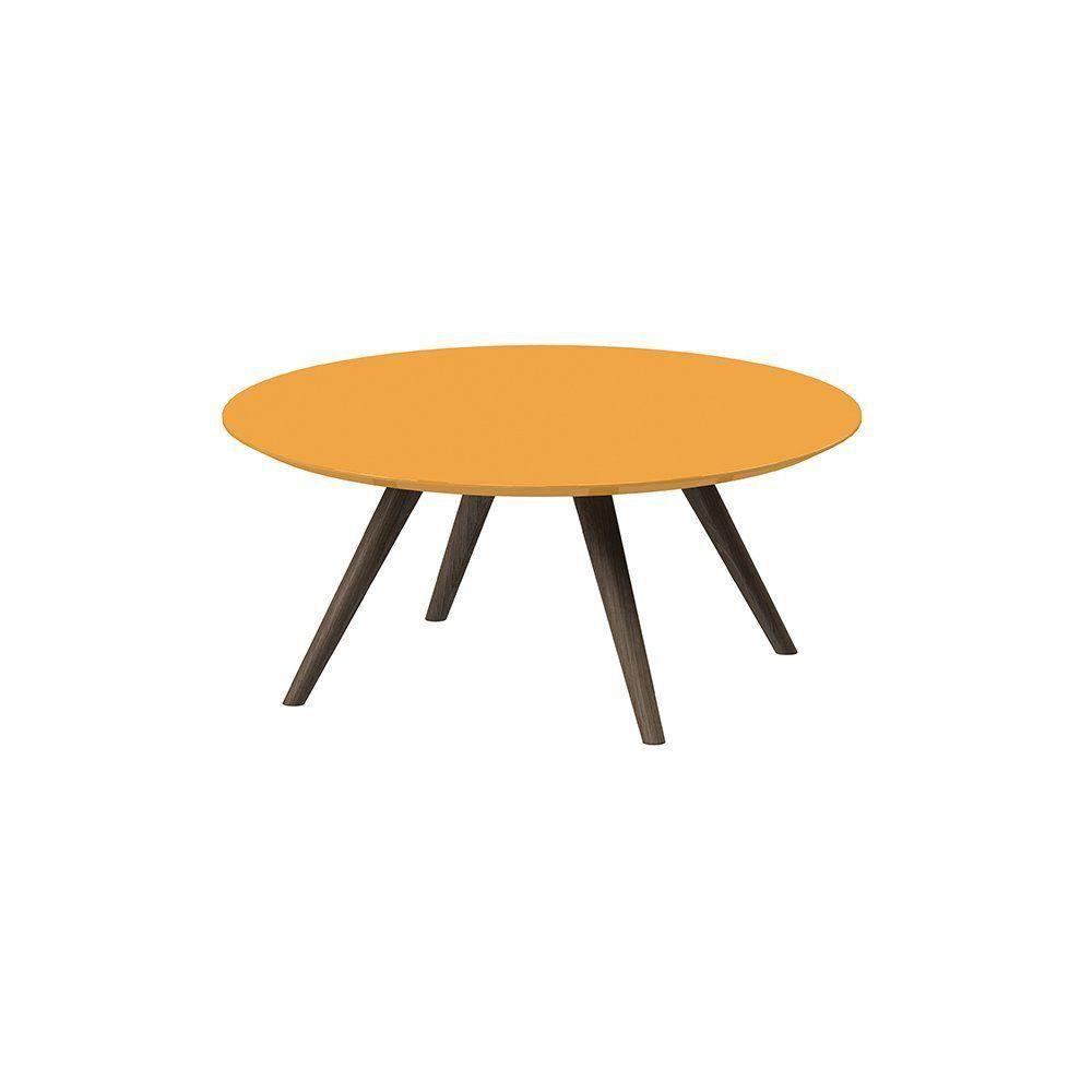 Mesa De Centro Redondo Amarelo - Pinoquio