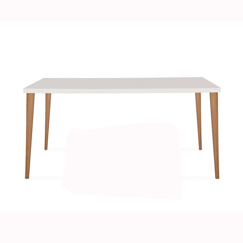 Mesa Eames 180cm Branco/Castanho - Daf Mobiliário
