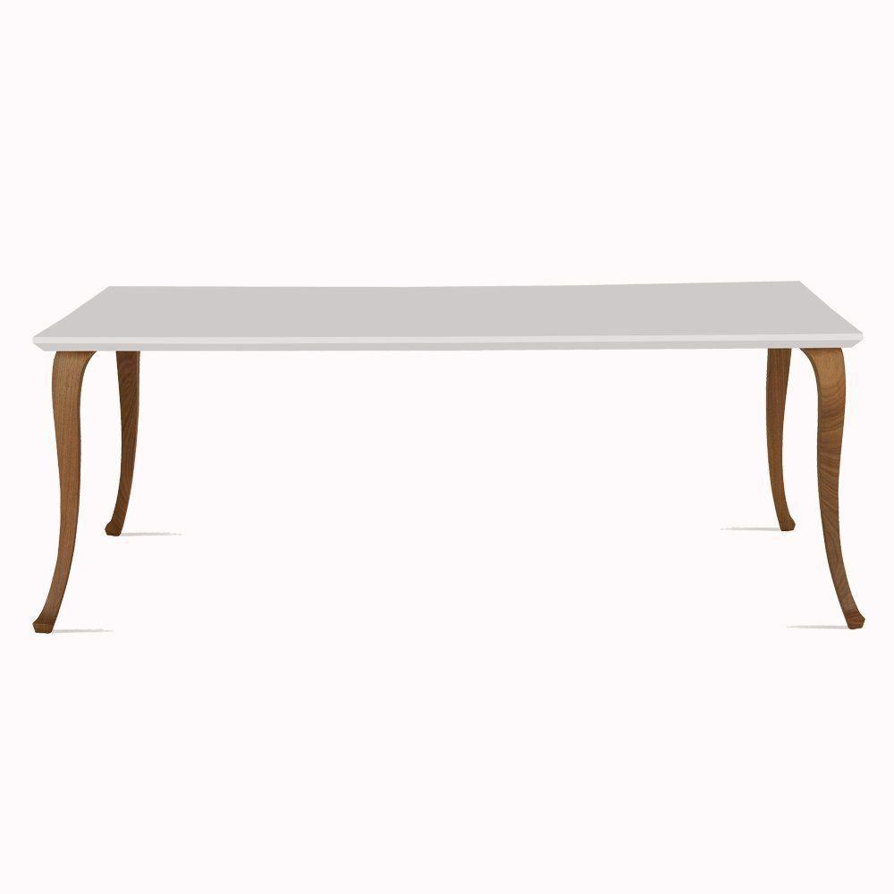 Mesa Luis XV 180cm Branco/Castanho - Daf Mobiliário
