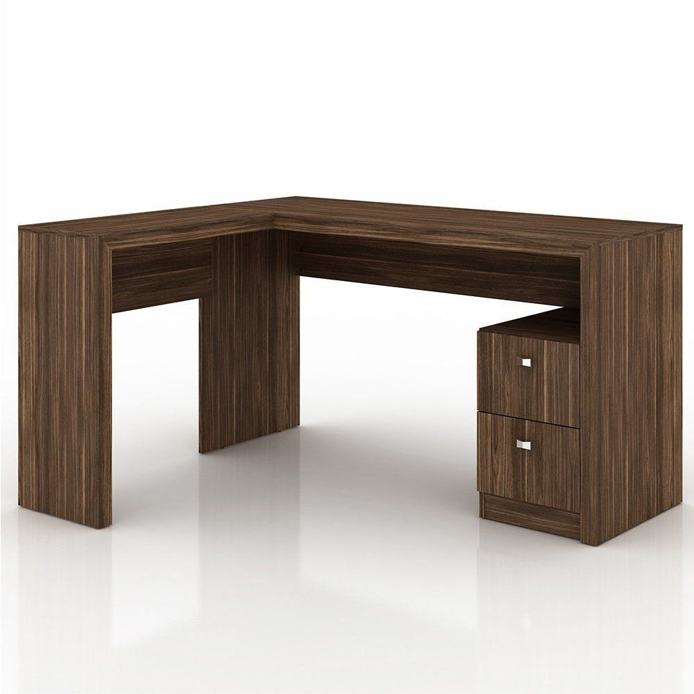Mesa para Home Office ME4129 02 Gavetas Nogal - Tecno Mobili