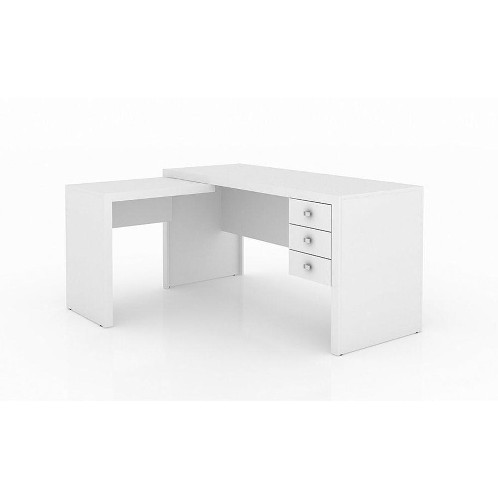 Mesa para Home Office com 03 Gavetas ME4106 Branco - Tecno Mobili