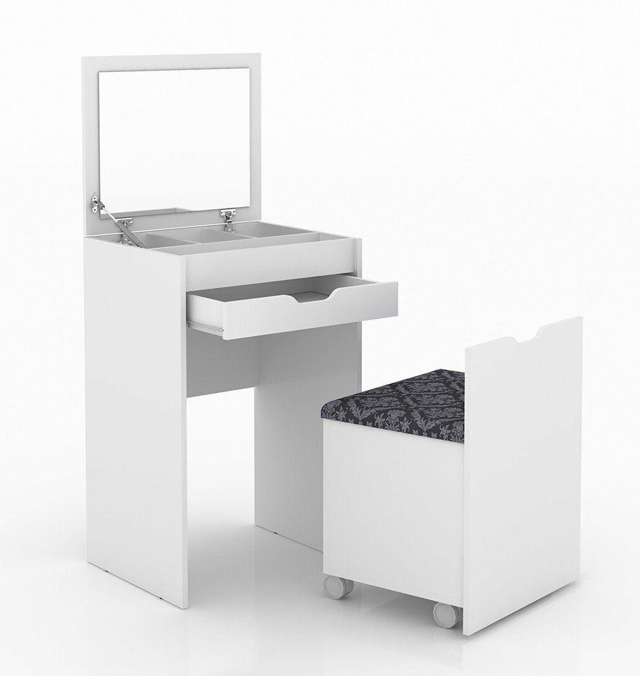 Penteadeira Compacta com Espelho PE2007 Branco/Preto - Tecno Mobili