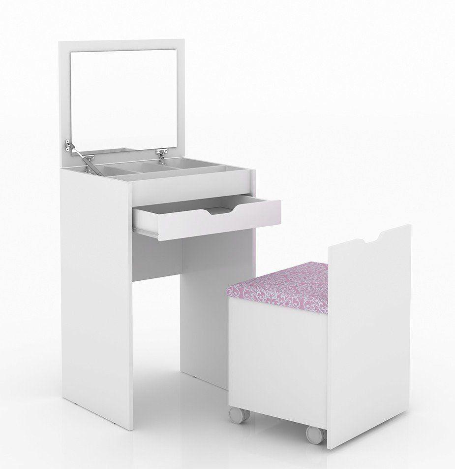 Penteadeira Compacta com Espelho PE2007 Branco/Rosa - Tecno Mobili