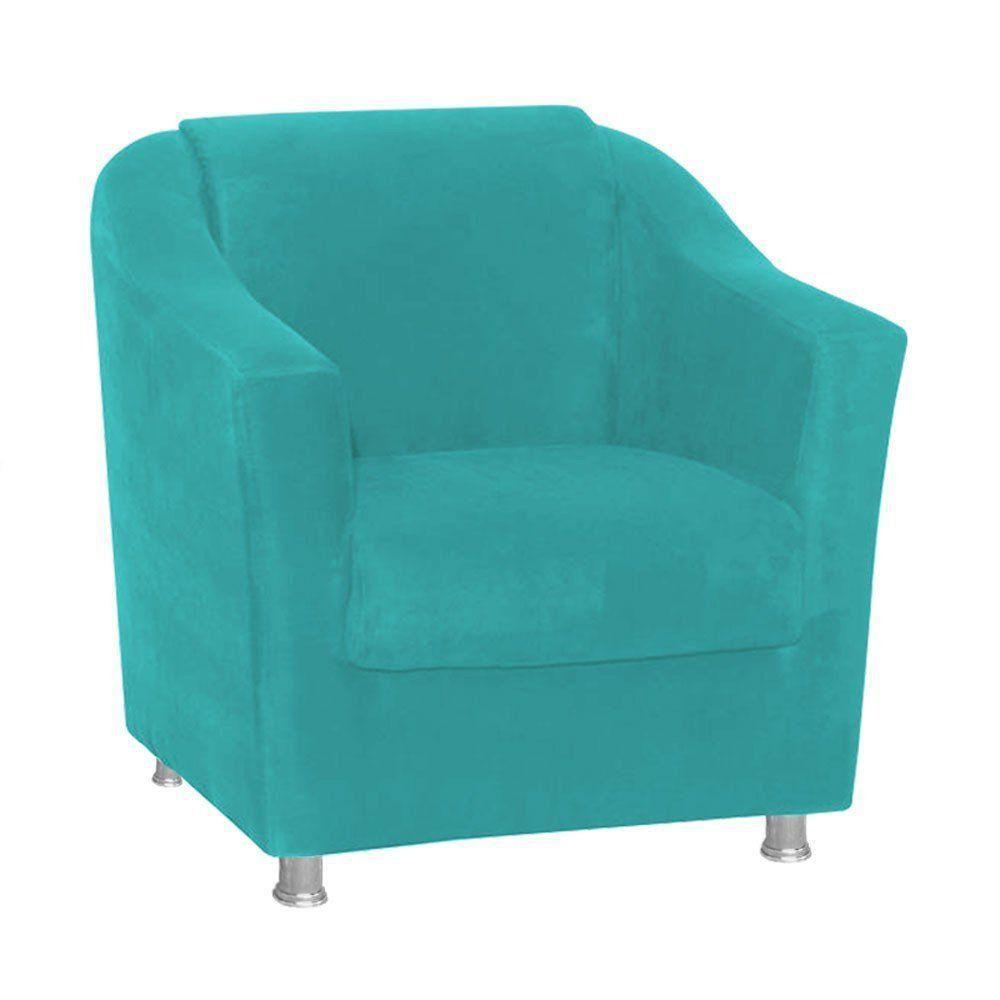 Poltrona Decorativa Tilla Suede Azul - Nay Estofados