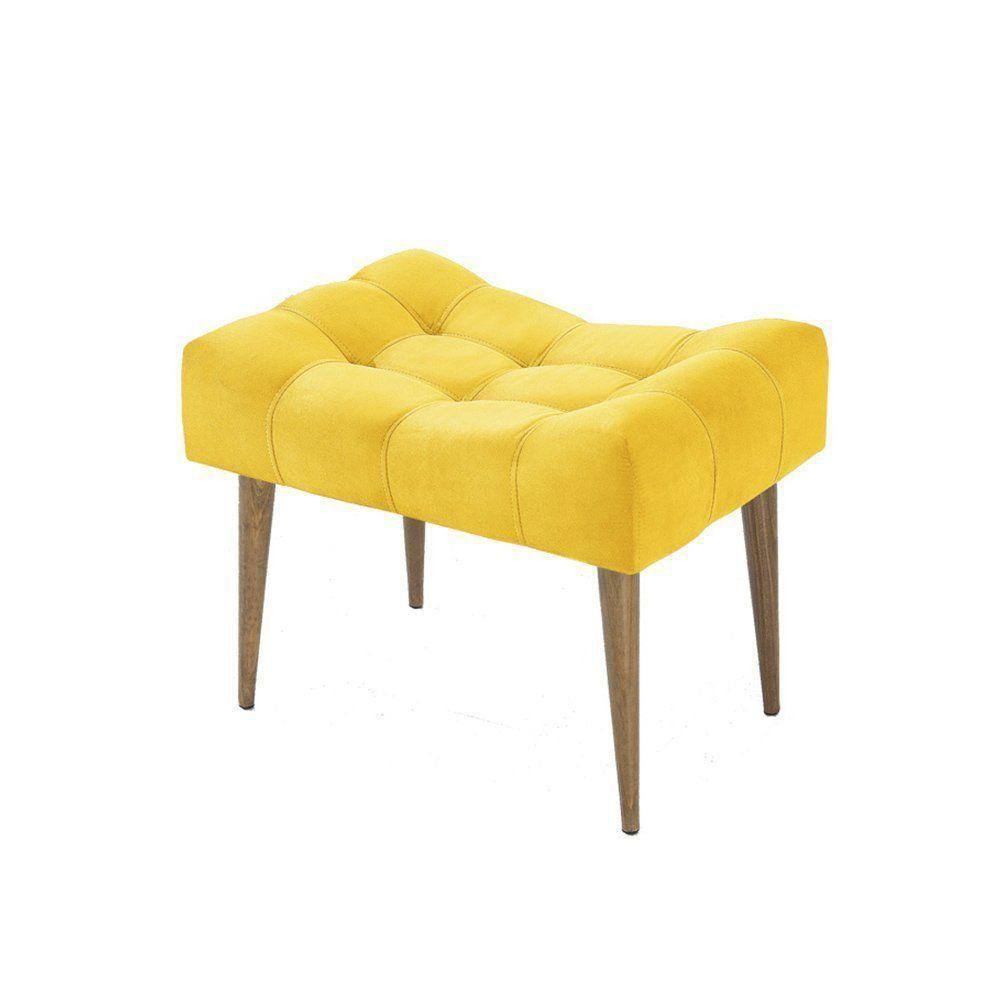 Puff Banqueta Confort Retrô Suede Amarelo - Império Estofados