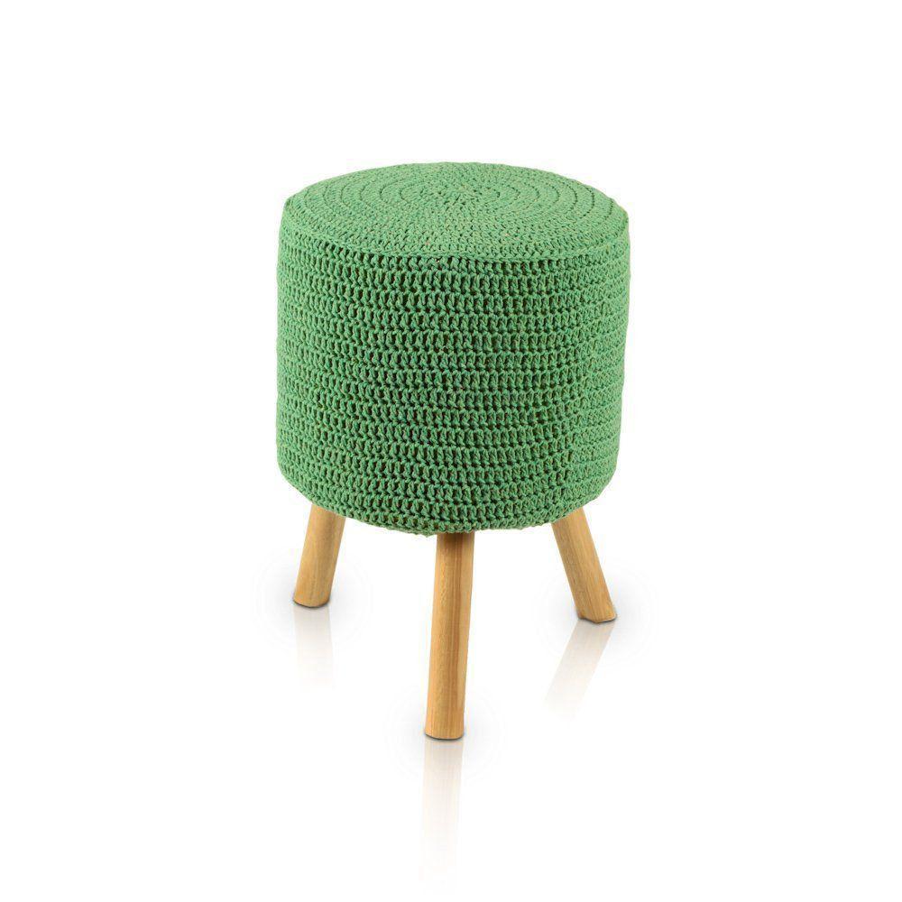 Puff Banqueta Round Crochê Verde - Stay Puff