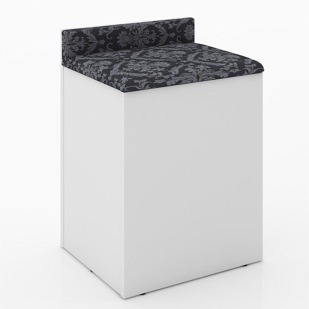 Puff Baú PU2052 com Encosto Branco/Preto - Tecno Mobili