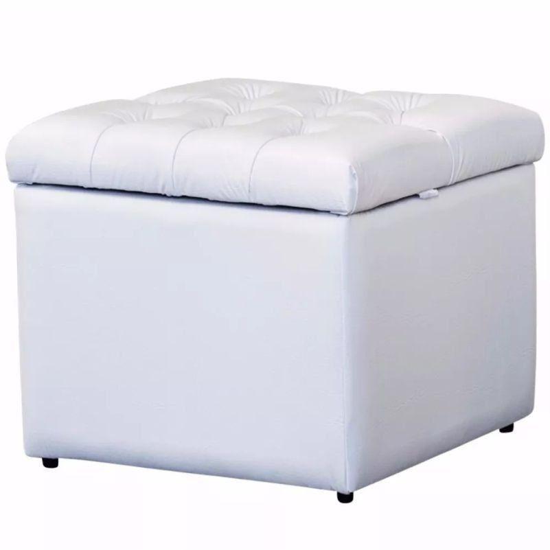 Puff Baú Quadrado Corino Branco - Nay Estofados