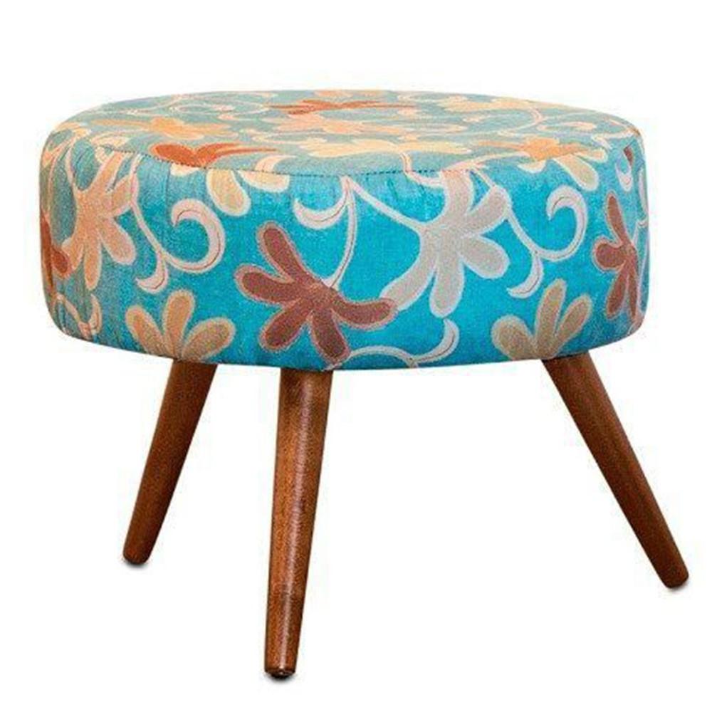Puff Decorativo Angel Suede Floral Azul - Nay Estofados