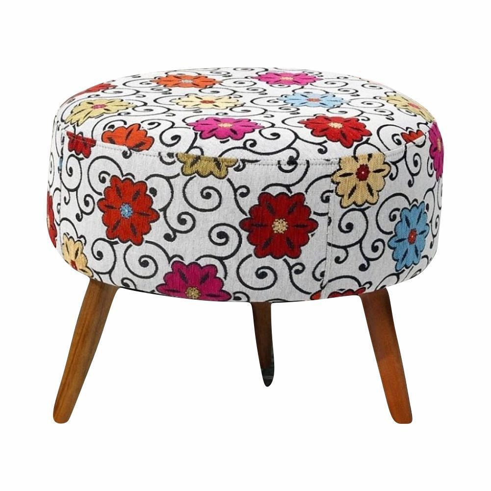 Puff Decorativo Angel Suede Floral Dohler - Nay Estofados