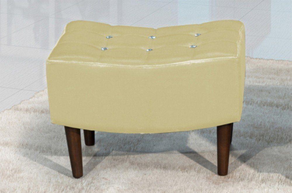Puff Decorativo com Pés de Madeira Sandy TCS-355 Bege Metalizado - Perfan