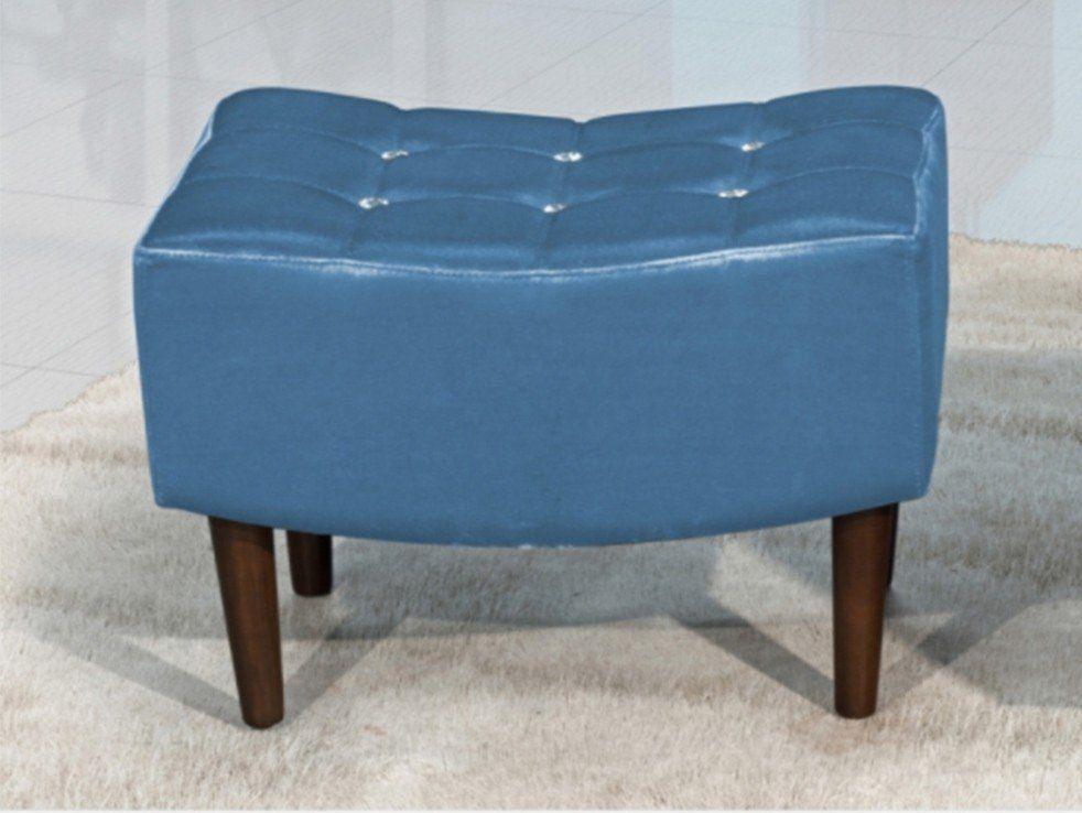 Puff Decorativo com Pés de Madeira Sandy TCS-358 Azul Metalizado - Perfan