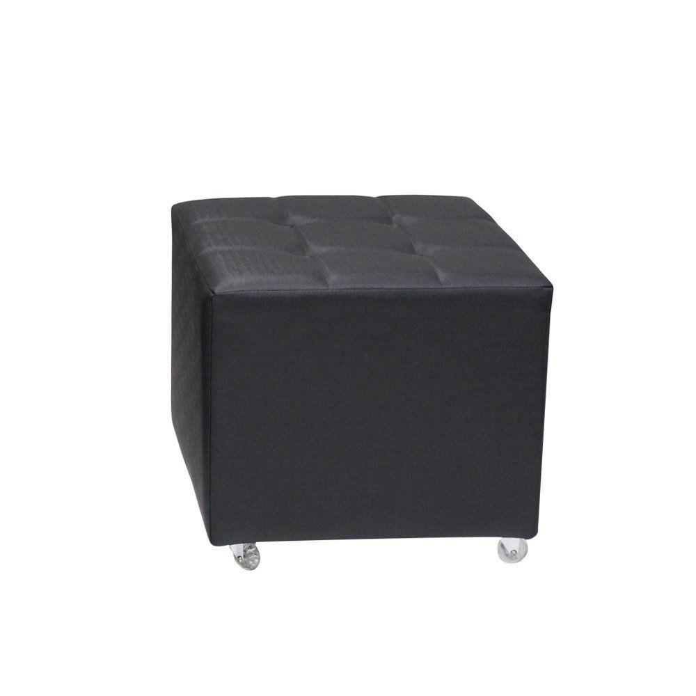 Puff Decorativo Lowa 50cm C/Rodízio Cipatex Preto - Gran Belo