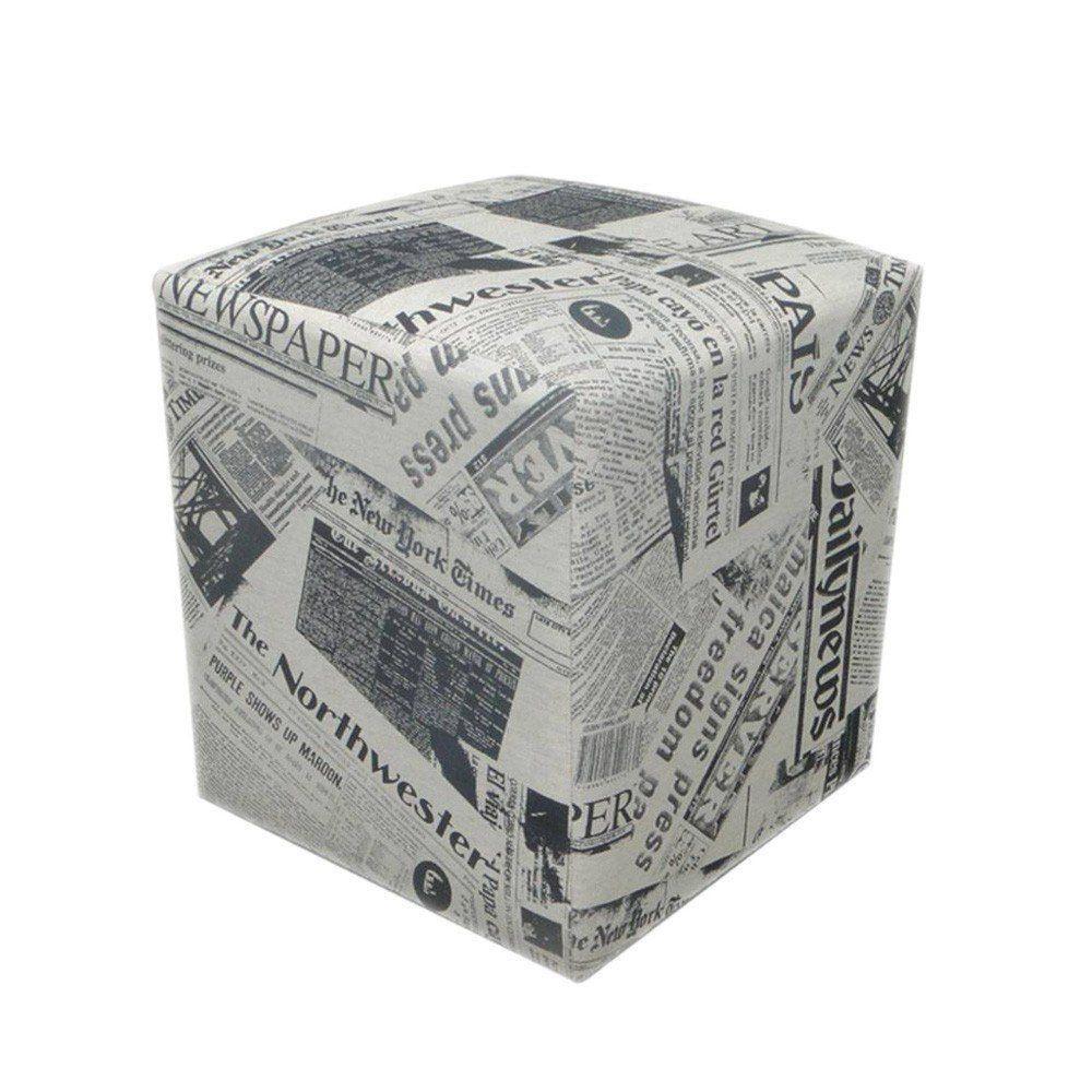 Puff Decorativo Quadrado Jornal Linho - Nay Estofados