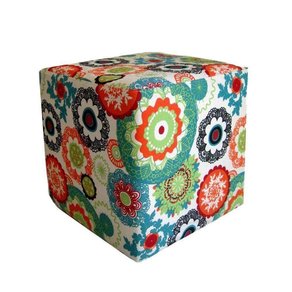 Puff Decorativo Quadrado Tecido Floral Laranja - Nay Estofados