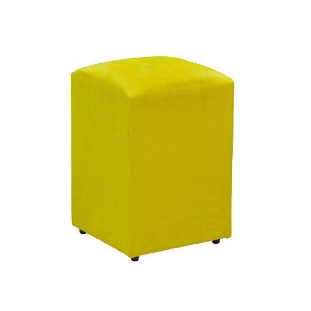 Puff Decorativo Suede Amarelo