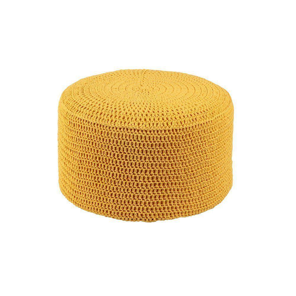 Puff Pastilha Crochê Amarelo - Stay Puff