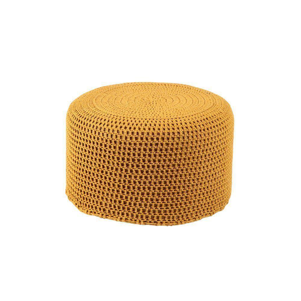 Puff Pastilha Crochê Mostarda - Stay Puff