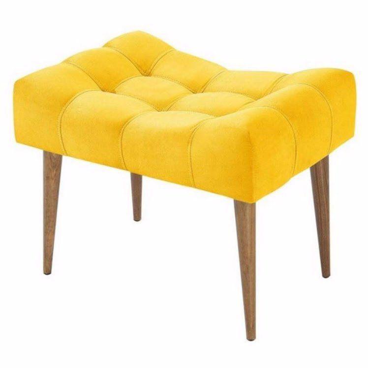 Puff Classic Pés Palito Alto Amarelo Capitonê - Nay Estofados
