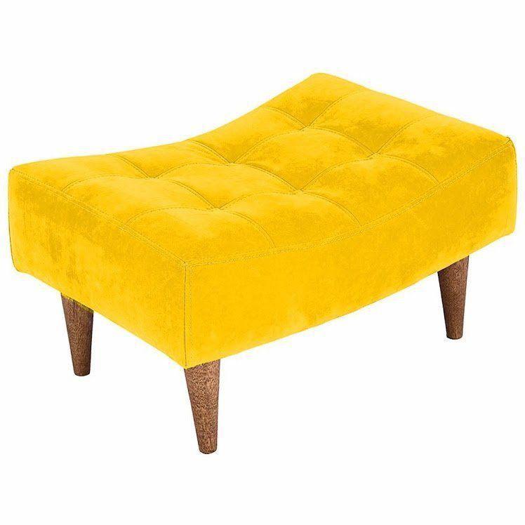 Puff Classic Pés Palito Baixo Amarelo Capitonê - Nay Estofados