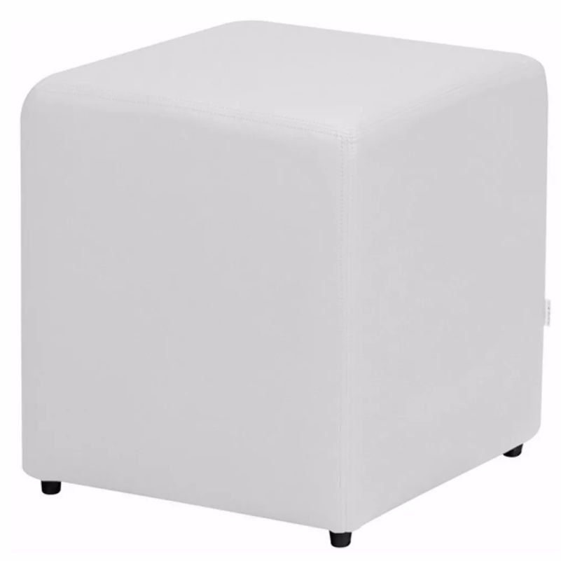 Puff Quadrado Corino Branco - Nay Estofados