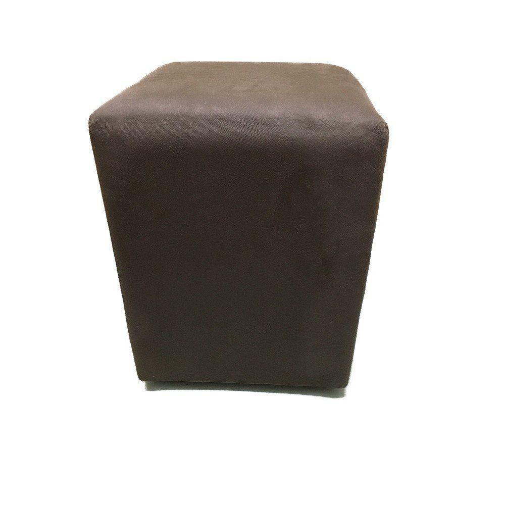 Puff Quadrado Decorativo Suede Marrom - Nay Estofados