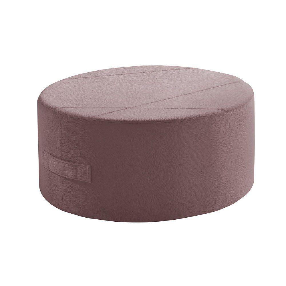 Puff Redondo IB299 80cm Veludo Rosê - Ilha Bela