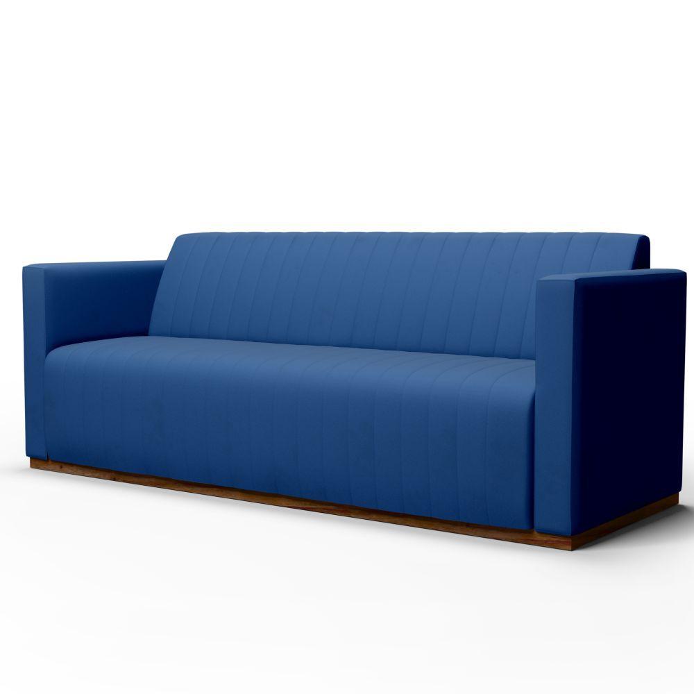 Sofá 3 Lugares Sala de Estar Hórus 210 cm Veludo Azul - Gran Belo