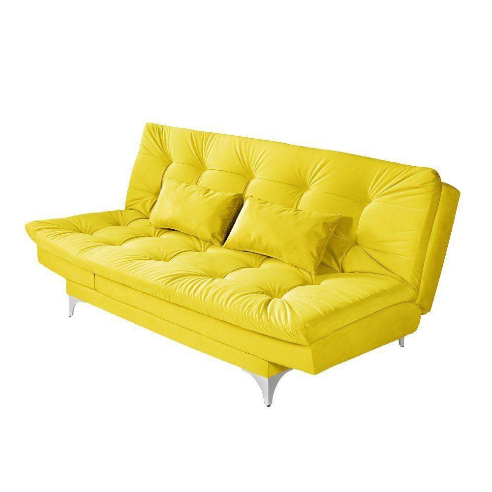 Sofá Cama 3 Lugares Versátil Veludo Liso Amarelo - Império Estofados
