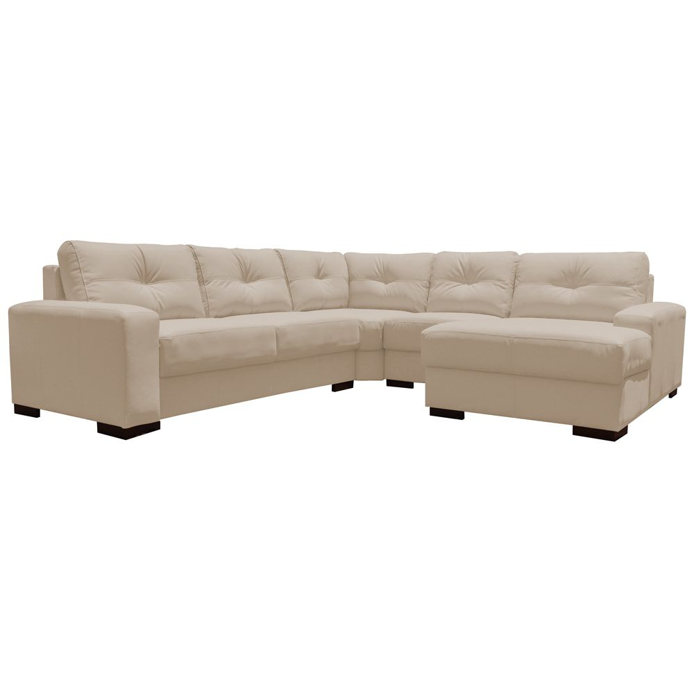 Sofá de Canto 6 Lugares 280cm com Chaise Concord Couro Bege 66 - Gran Belo