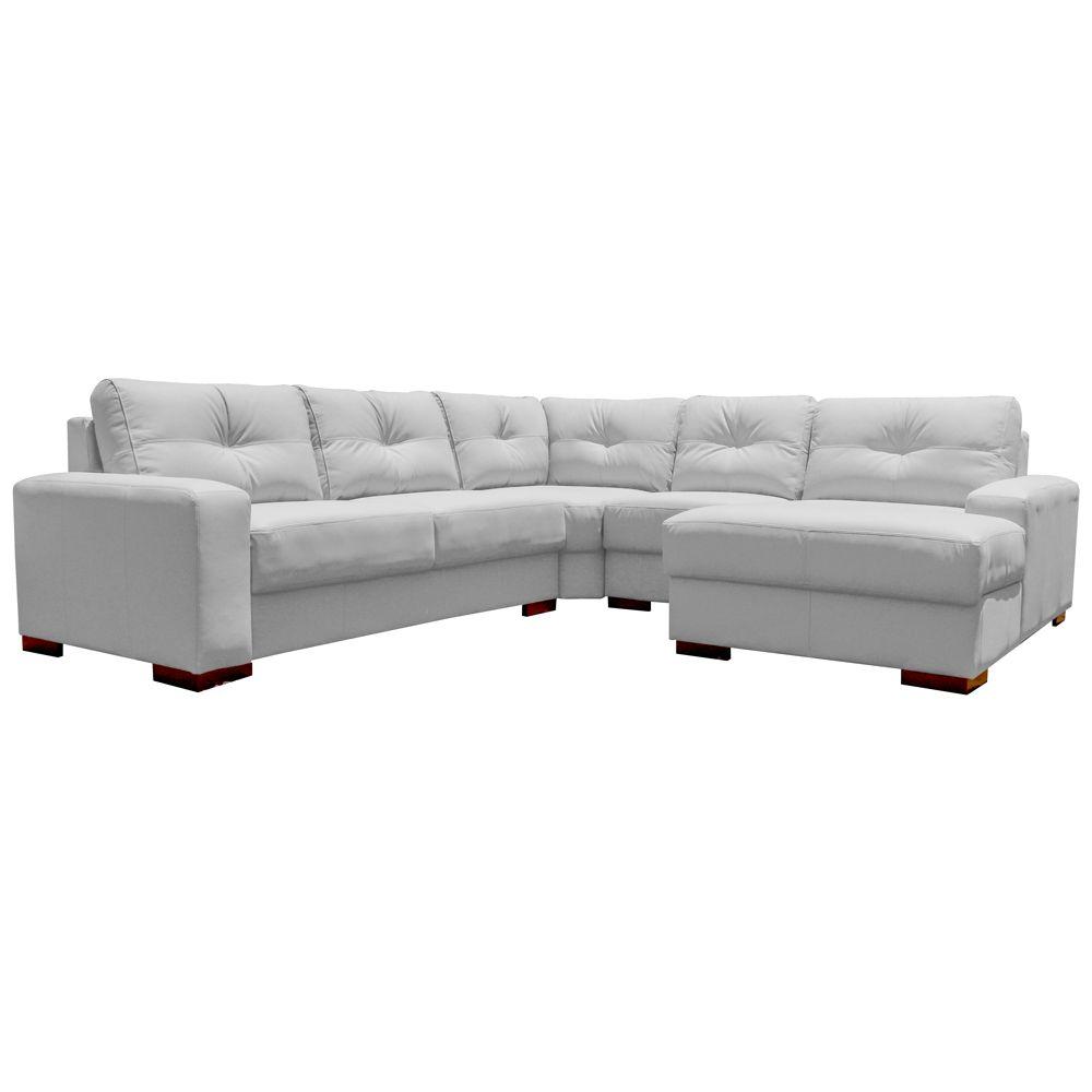 Sofá de Canto 6 Lugares 280cm com Chaise Concord Couro Branco Fosco - Gran Belo